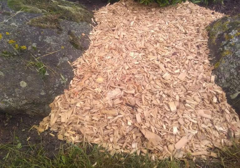 Paillage en copeaux de bois